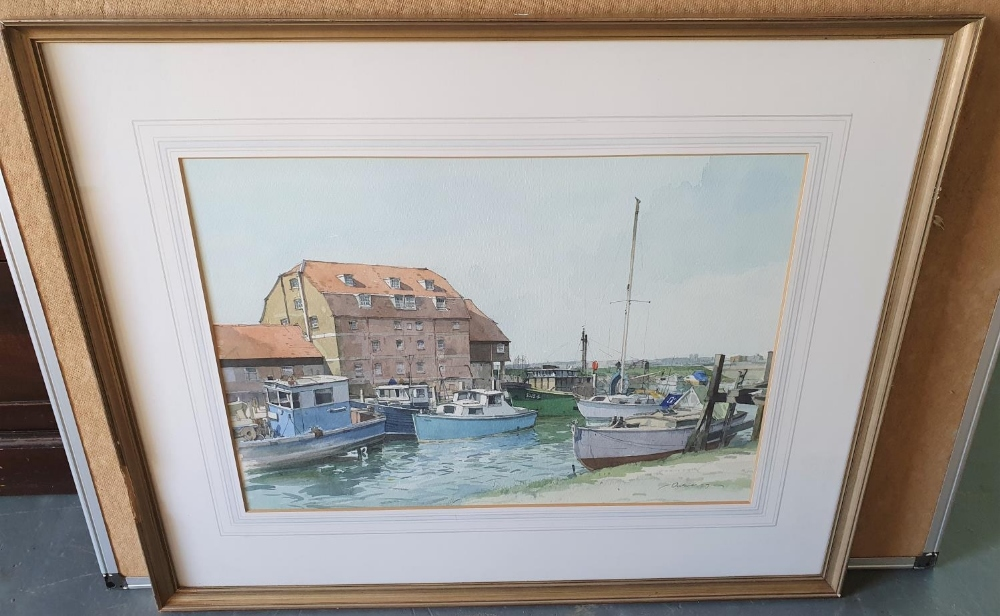 Indistinctly signed 1977 watercolour depicting small boats in inland harbour, signed and dated, - Image 2 of 3