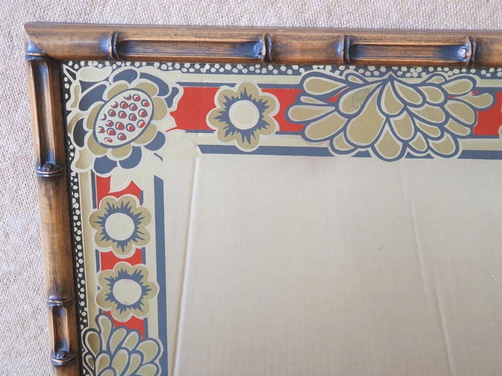 Retro 1970s ornate mirror with faux bamboo frame, 43 x 36 cm - Image 2 of 3