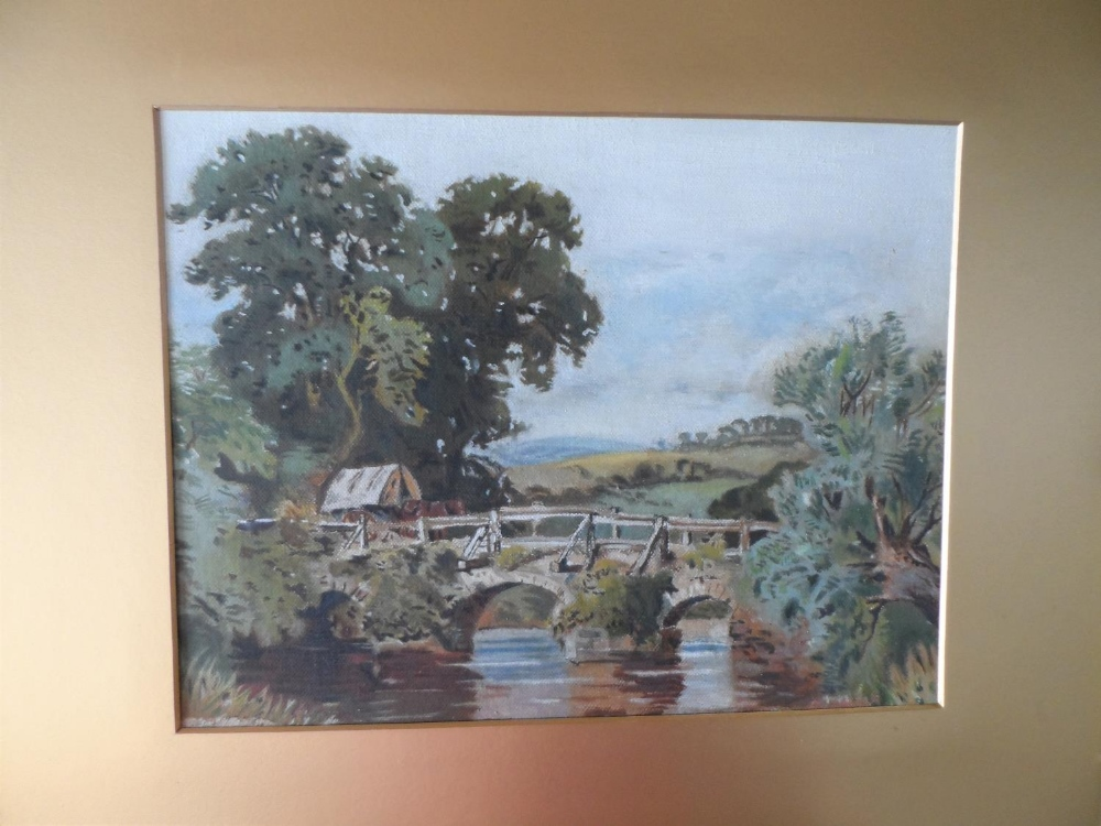 """Unsigned Edwardian oil on card, """"Country bridge"""", gilt mount but unframed, The oil measures 20 x - Image 2 of 3"""