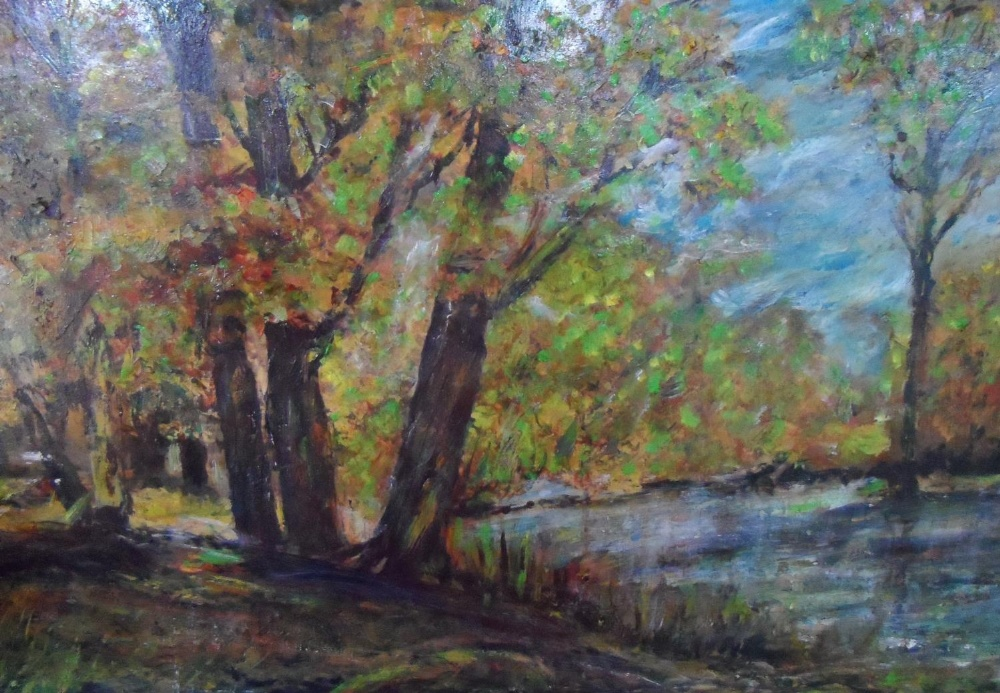 """Large unsigned impressionist oil on board, """"Wooded river landscape"""", thin molded frame, The oil - Image 4 of 5"""