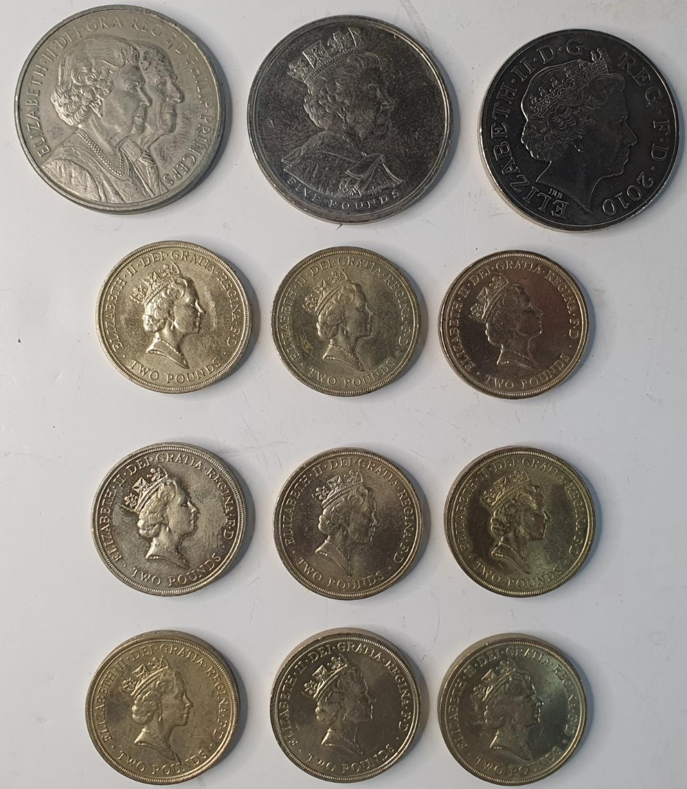 Collection of 3 x £5 coins together with a collection of 9, early £2 coins to include some rare