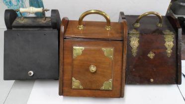 Three antique coal boxes (3)