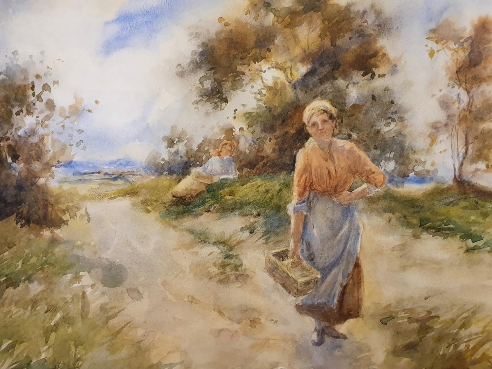 """Thomas PATERSON (Scottish 19th/20thC) impressionist watercolour """"Peasant lady on country road"""", - Image 2 of 3"""