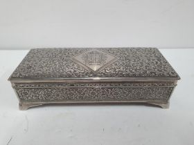 Stunning Edwardian white metal jewellery box, 22 cm long
