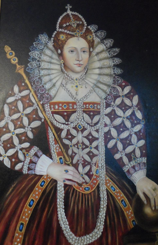 Large modern oil on board, portrait of Queen Elizabeth I in full pearl regalia, indistinctly