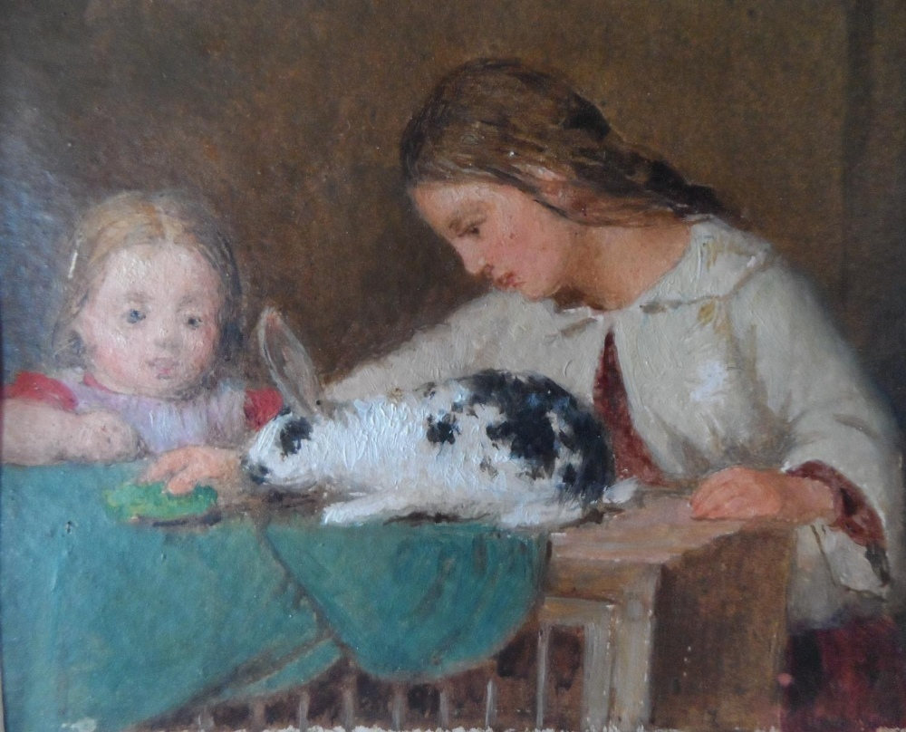 """Unsigned small Victorian oil on paper, """"Feeding the rabbit"""", mounted but unframed, The oil"""