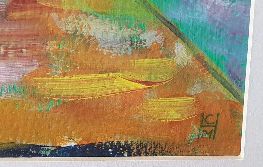 """Cynthia Morgans-Hurley (Wales) colourful modern acrylic """"Out with dad"""", signed in monogram, framed - Image 3 of 5"""