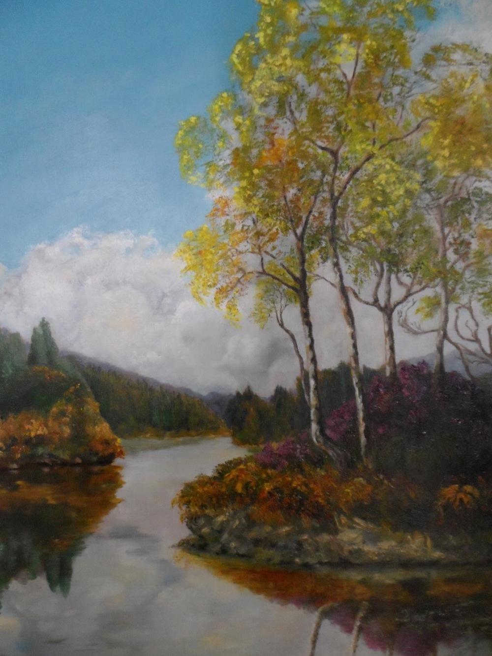 """Pamela Parker oil """"Tranquil river landscape"""" framed"""