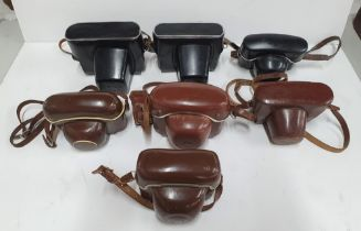 Collection of vintage 20thC cased cameras to include Zeiss & Zenit examples (7)