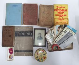 Collection of small antiques to include an old book on Norton motorbikes, postcards, many relating