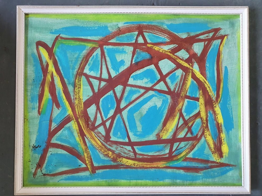 Unsigned, mid 20thC French abstract oil on card, framed, The oil measures 30 x 39 cm - Image 2 of 3