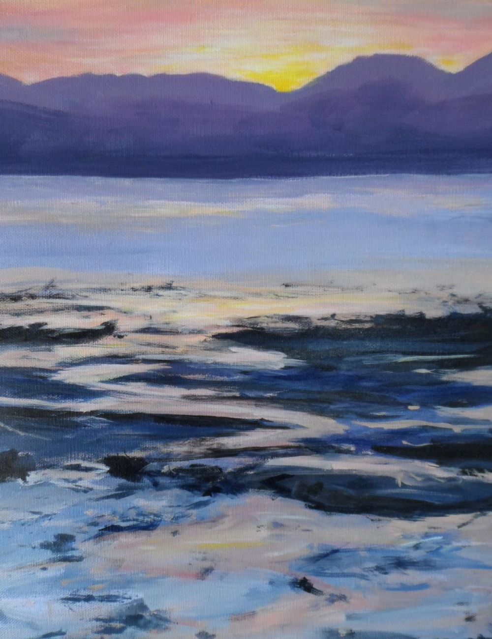 """Indistinctly signed, modernist oil on canvas, """"Red sunset over beach & sea"""", unframed, 41 x 56 cm - Image 2 of 6"""