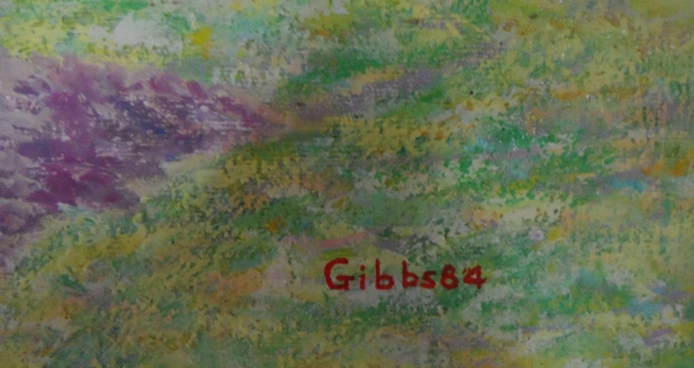 "Gerry B Gibbs 1984 post-impressionist oil on canvas ""Coastal landscape"", signed & dated, unframed, - Image 3 of 4"