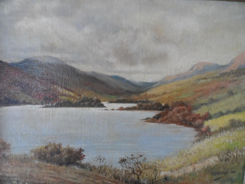 """W H Hutchings 1938 oil on board, """"Highland lake scene"""", signed, thin molded frame, The oil"""