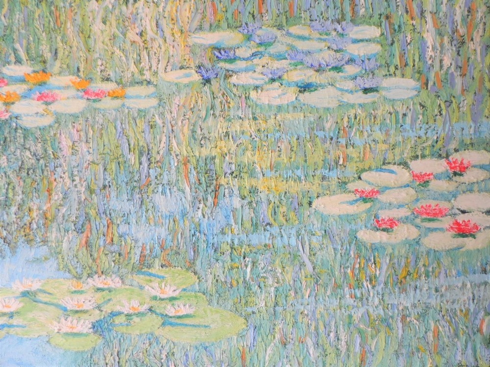 """Large Gerry Gibbs 1976 impressionist oil on canvas, """"Water-lilies"""", unframed, signed and dated, 51 x - Image 4 of 7"""