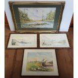 Collection of 4 framed landscape watercolours by H Sandham & Malcolm Halliwell, various sizes