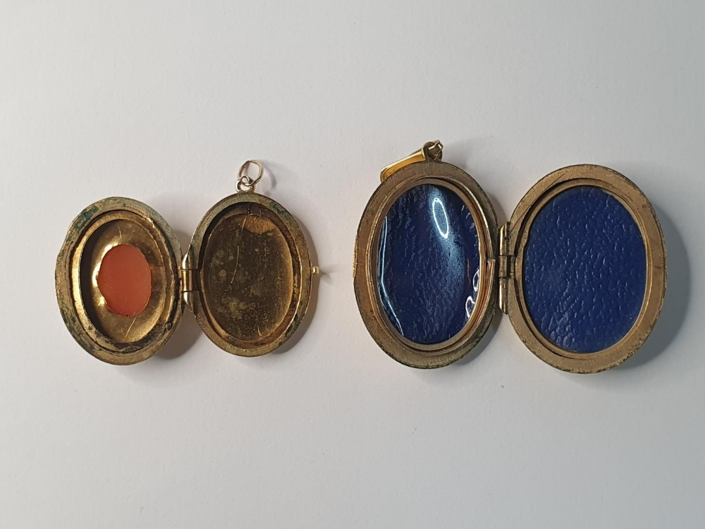 Two antique lockets, one with a cameo which is 9ct gold B&F together with a rolled gold example (2) - Image 2 of 3