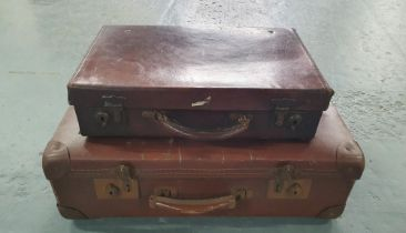 Adults & child's vintage brown leather suitcases (2)