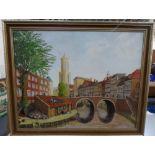 "Doreen Parker oil on canvas, ""Dutch town scene"" framed, signed, The oil measures 51 x 41 cm"
