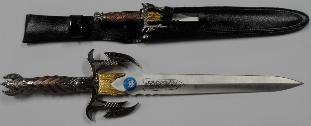 """Fine quality cast """"Game of thrones"""" style knife with sheath & smaller example"""