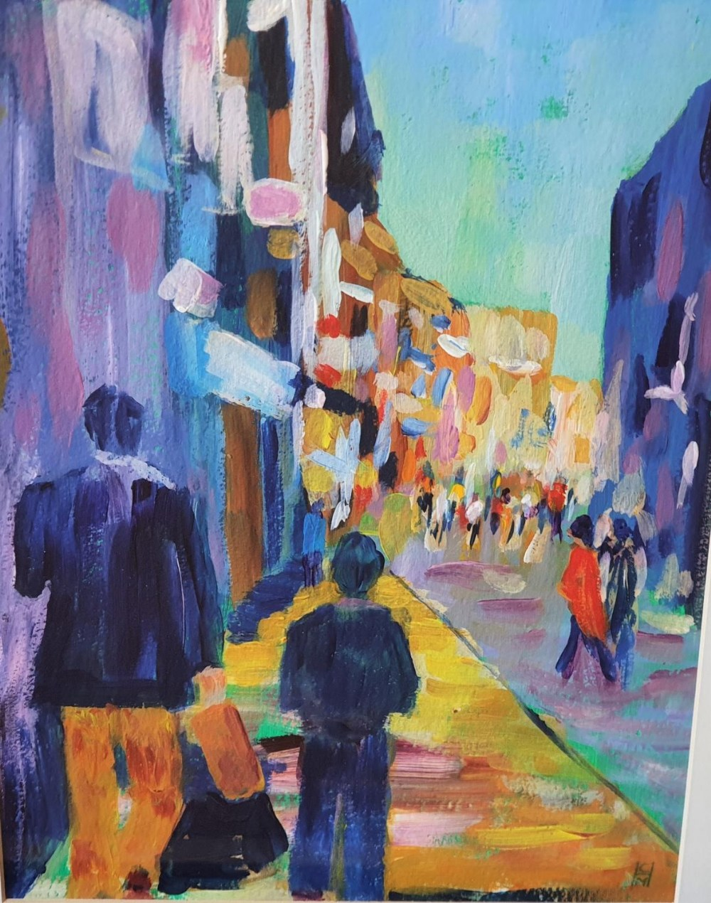 """Cynthia Morgans-Hurley (Wales) colourful modern acrylic """"Out with dad"""", signed in monogram, framed"""
