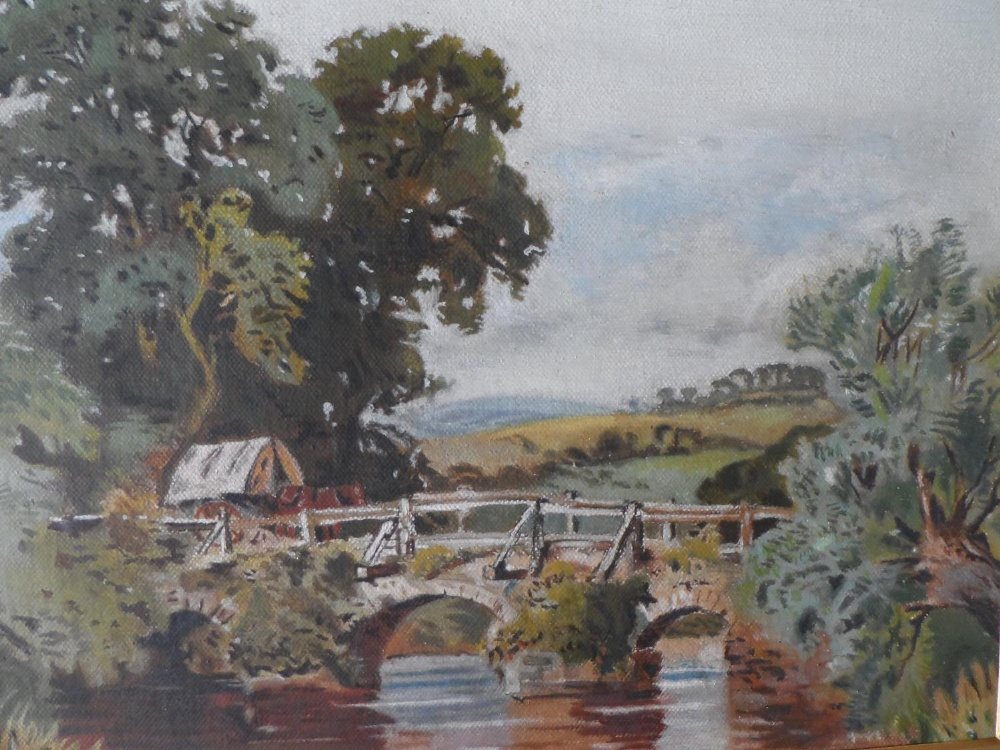 """Unsigned Edwardian oil on card, """"Country bridge"""", gilt mount but unframed, The oil measures 20 x"""