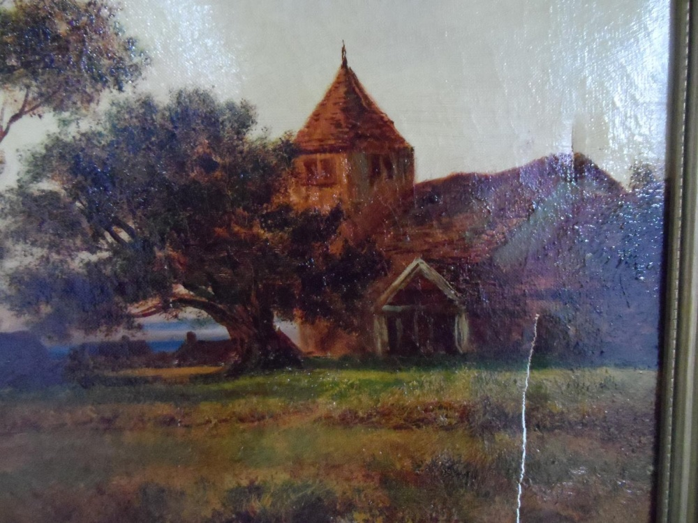 """Large Joel OWEN (act.1891-1931) oil """"Extensive country landscape"""", signed, wood framed, The oil - Image 3 of 6"""