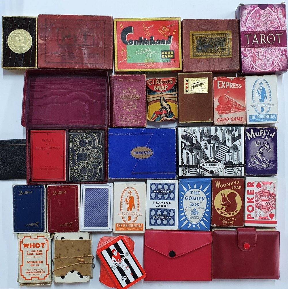 Larger collection of cards, Tarot cards & vintage card games to include Canasta, Contraband, Muffin,