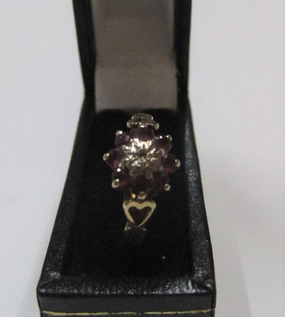 9ct yellow gold ruby & diamond flower ring Approx 1.6 grams gross, size L