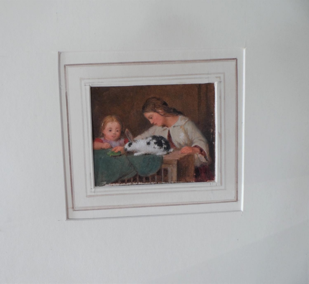 """Unsigned small Victorian oil on paper, """"Feeding the rabbit"""", mounted but unframed, The oil - Image 2 of 7"""