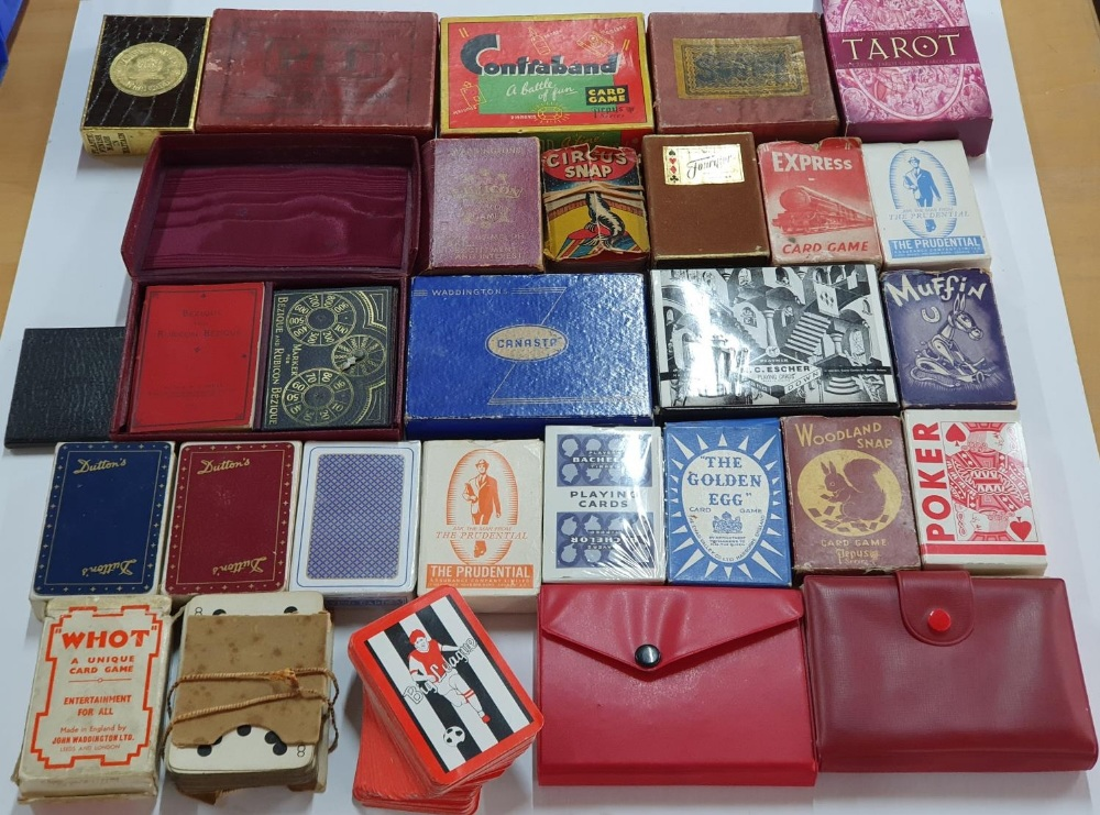 Larger collection of cards, Tarot cards & vintage card games to include Canasta, Contraband, Muffin, - Image 2 of 2