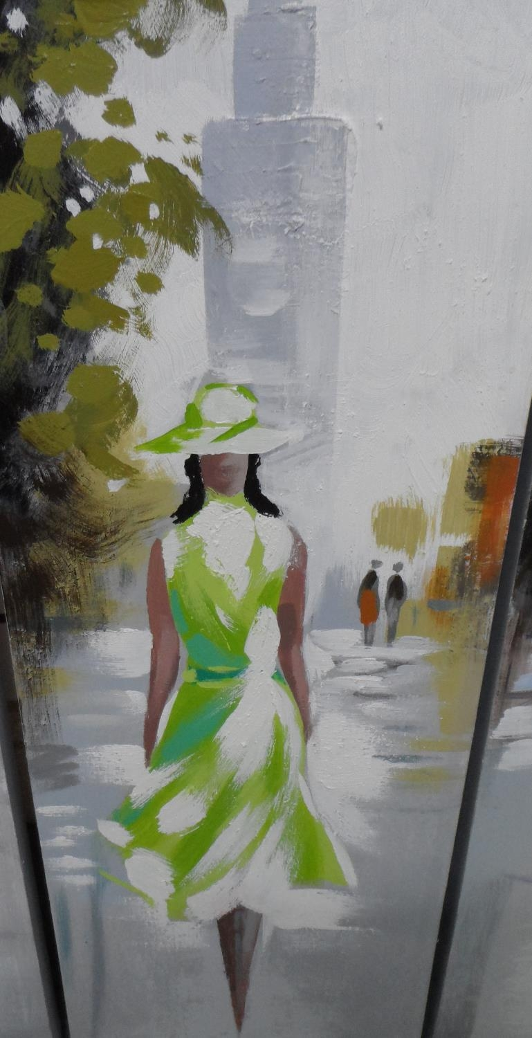 Unsigned 21stC triptych modernist oils depicting 3 ladies in cities, all unframed (3) Each oil - Image 3 of 5