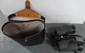Fine quality, large vintage 12 x 50 wide angle binoculars complete with 4 cover caps and good
