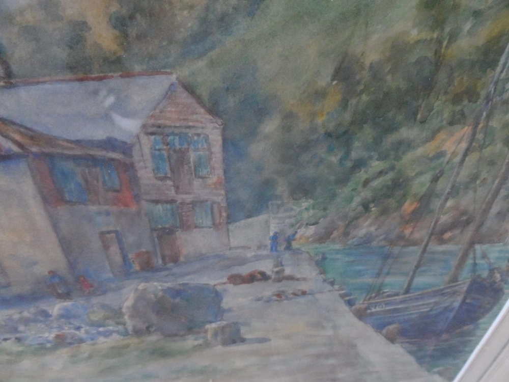 """Violet E Goodeve 1916 watercolour """"Fishing boat tied up at the dockside"""", signed and dated, in - Image 4 of 5"""