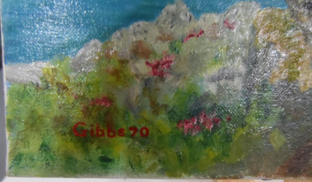 """Gerry B Gibbs 1970 post-impressionist oil on canvas, """"Tranquil coastal scene"""", signed and dated, - Image 4 of 5"""