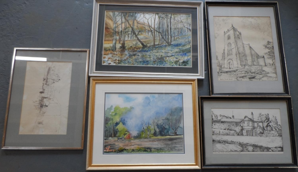 2 framed watercolours by differing artists together with 3 framed pen & ink drawings (5) Largest
