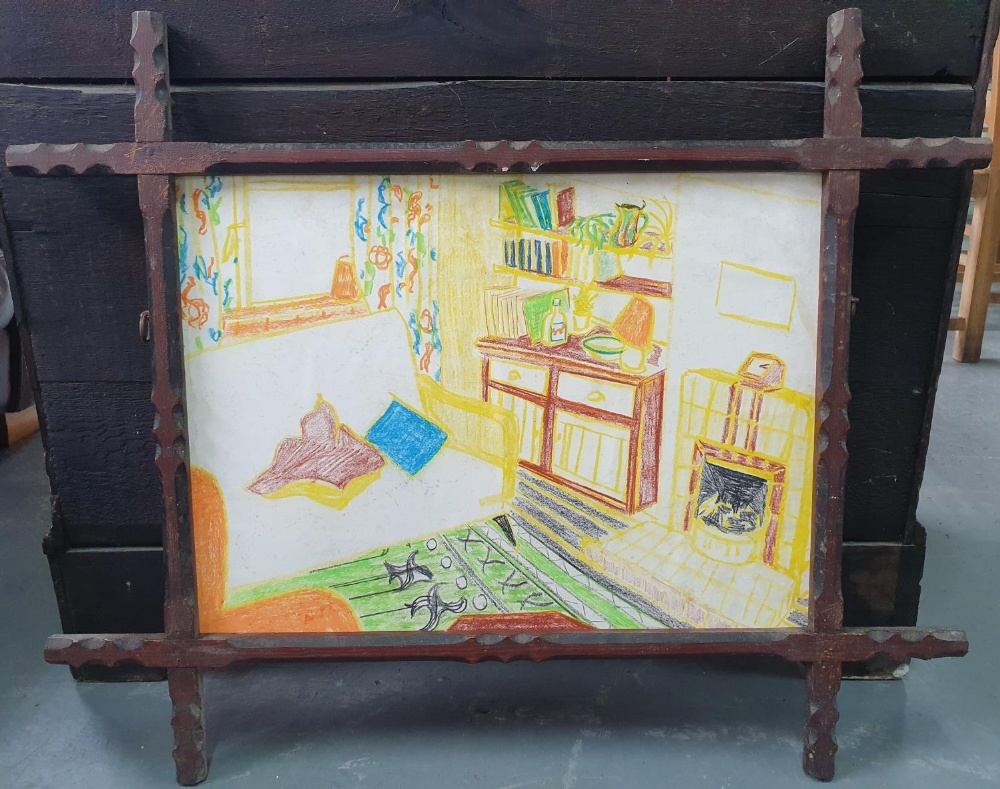 Jack Shaw, crayon, colourful lounge scene set in a pleasing vintage frame (1) 17 x 22cm