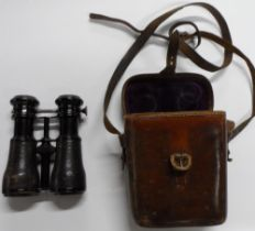 Rare antique unmarked binoculars with adjustable lenses for differing uses, marked on the binoculars