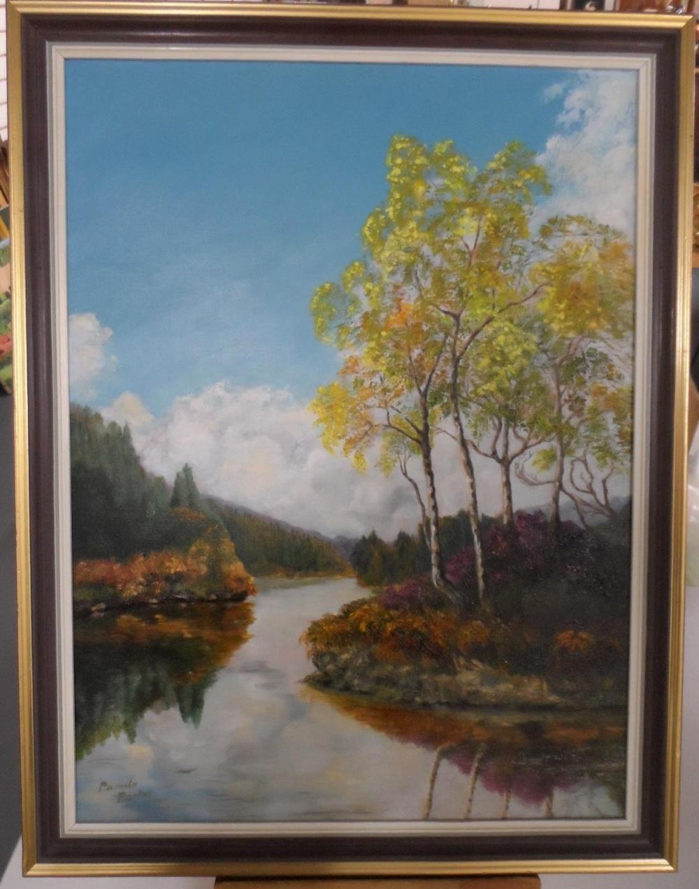 """Pamela Parker oil """"Tranquil river landscape"""" framed - Image 2 of 4"""