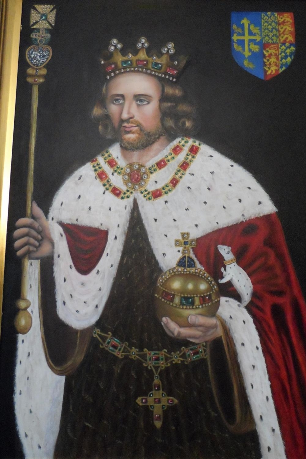 Superb quality, large 20th/21st oil on board, portrait of King Henry in full coronation regalia with