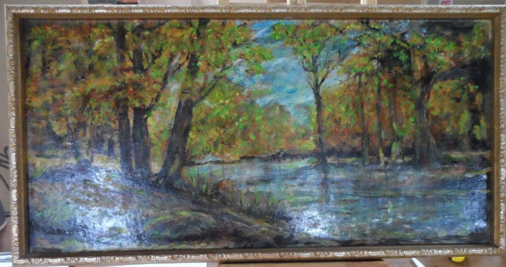 """Large unsigned impressionist oil on board, """"Wooded river landscape"""", thin molded frame, The oil"""