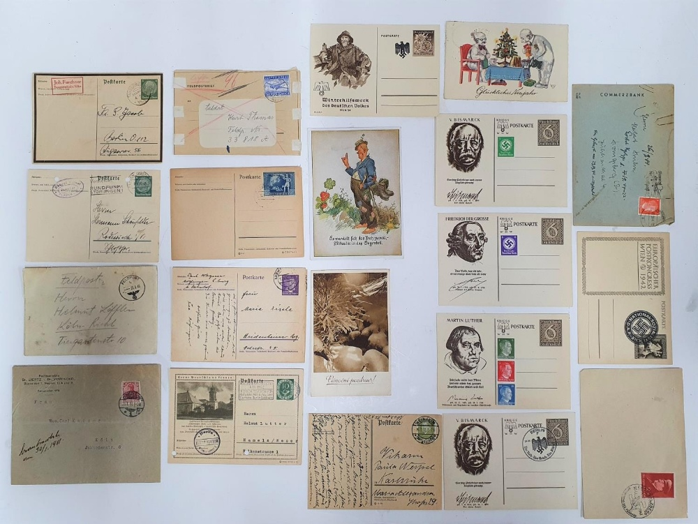 Collection of German stamped envelopes & postcards, mainly 1930s/40s, one 1911 (20)