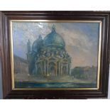 """Unsigned, impressionist oil on card, """"View of St Pauls"""", framed, The oil measures 28 x 36 cm"""