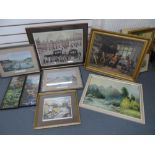 Collection of 20thC framed prints & 2 framed embroideries (8)