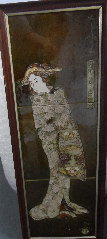 Signed 3-tiled Japanese geisha girl, in thin wood frame, 64 x 24 cm