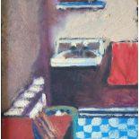 "Bob Evans (Nottingham) 1996 oil on board, ""Hotel Los Ambos, bathroom"", signed, pine frame, The oil"