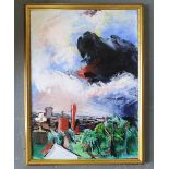 """L S Asher, late 20thC British school acrylic on paper, """"View across the rooftops"""", signed, thin wood"""