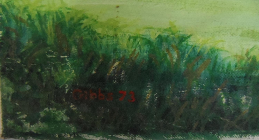 """Large, Gerry B Gibbs 1973 post-impressionist oil on canvas, """"Extensive countryside landscape"""", - Image 4 of 5"""