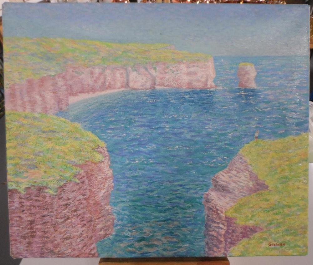 "Gerry B Gibbs 1984 post-impressionist oil on canvas ""Coastal landscape"", signed & dated, unframed,"