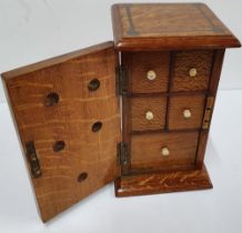Fine quality, inlaid Art Nouveau Edwardian miniature traveling cabinet with 5 internal drawers, 23